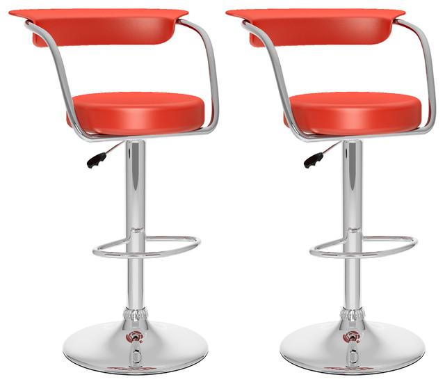 Groovy Corliving 33 Open Back Adjustable Bar Stool In Red Set Of 2 Ibusinesslaw Wood Chair Design Ideas Ibusinesslaworg