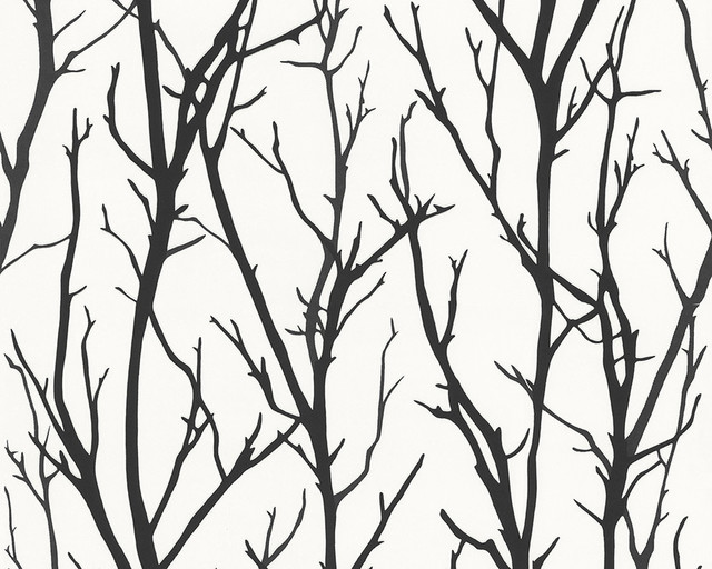 Modern Non-Woven Tree Wallpaper For Accent Wall - 268341 Branch Wallpaper, Roll.