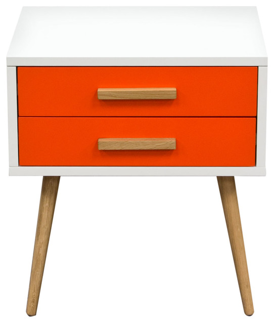 Tangent 2 Drawer Accent Table With White Top And Oak Legs - Midcentury - Nightstands And Bedside ...