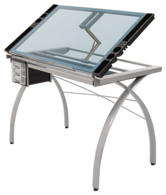 Craft Accents Folding Art And Craft Table, Silver, Blue Glass.