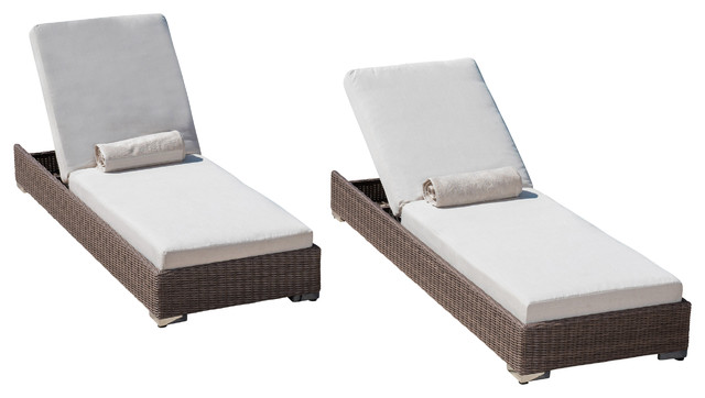 Zendaya Brown Wicker Sunbrella Chaise Lounge Chairs, Set Of 2  Contemporary Outdoor Chaise