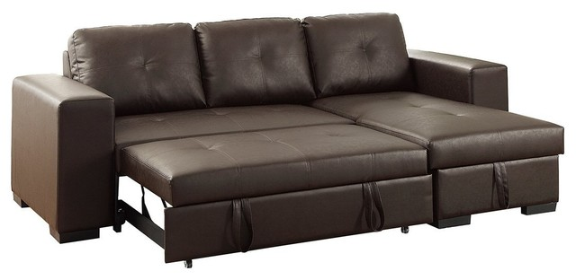 Convertible Sectional Sofa With Pull-Out Bed, Storage Chaise, Espresso.