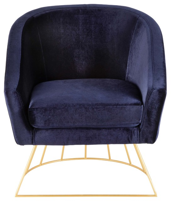 Ordinaire LumiSource Canary Tub Chair, Gold Metal And Royal Blue Velvet