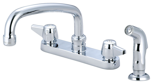 Central Brass Two Handle Cast Brass Tube Spout Kitchen Faucet With Spray.