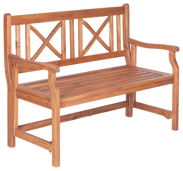 "48"" Acacia Folding Bench, Brown."