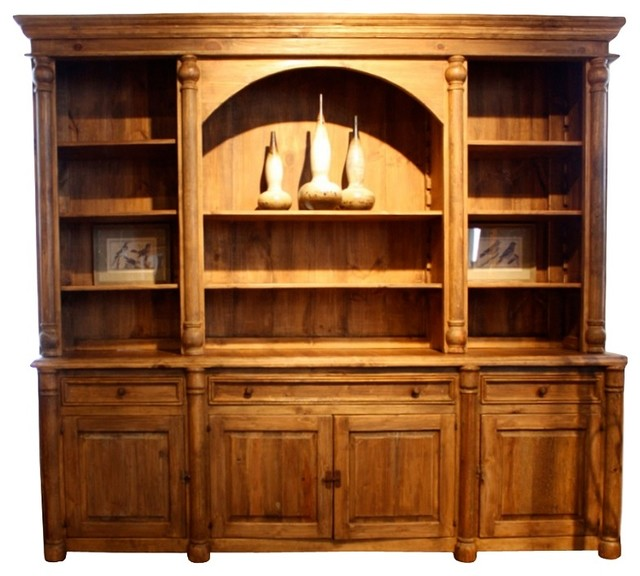 reclaimed library wall unit amazing worm wood - traditional