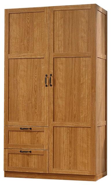 Bedroom Wardrobe Cabinet Storage Closet Organizer Medium Oak Finish