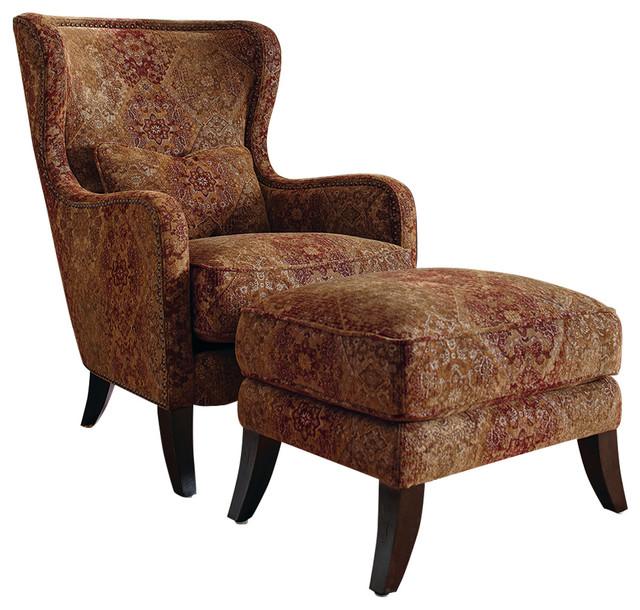 Accent Chair And Ottoman Combo: Simon Li Accent Chair And Ottoman, Leather And Fabric