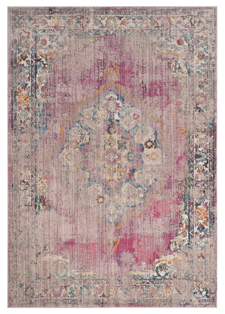 Safavieh Bristol Woven Rug, Fuchsia/light Gray, 6&x27;x9&x27;.