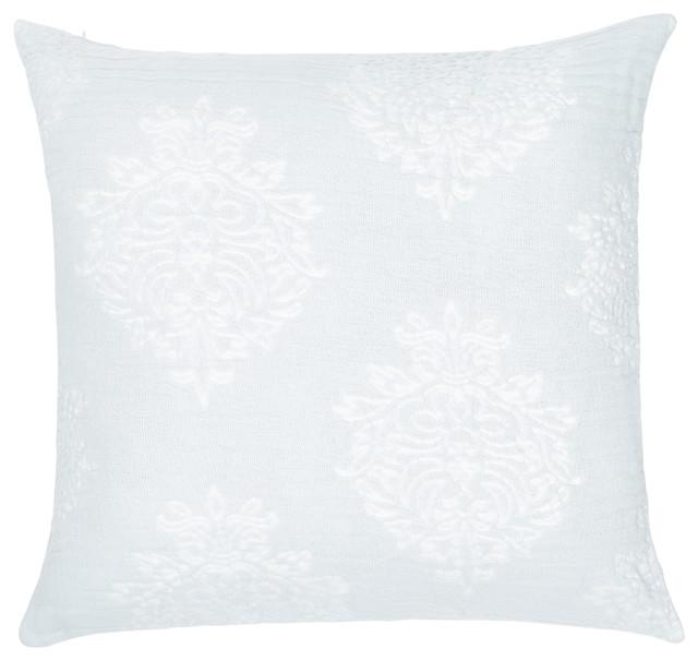 """Regal Stonewashed Cotton Pillow Cover, Pale Blue, 20""""x20""""."""