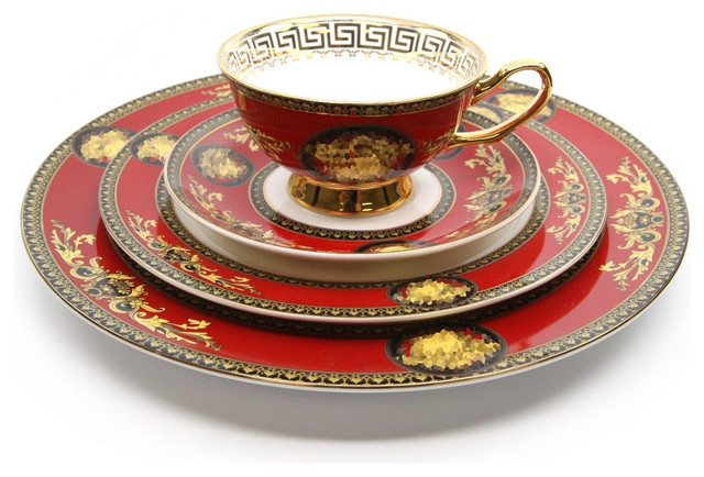 Royalty Porcelain Luxury 8 Piece Red Dinner Set For 1 Person, 24K Gold