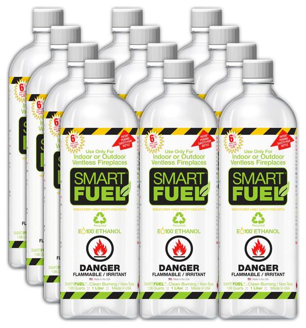Anywhere Smart Fuel Liquid Bio-Ethanol Fuel, Liter Bottles, 12 Pack.