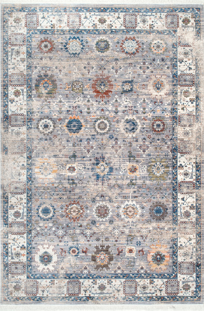 Faded Floral Fringe Area Rug, Gray, 8&x27;x10&x27;.