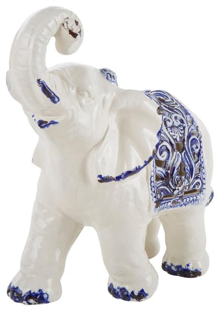 Elephant Decor White And Blue