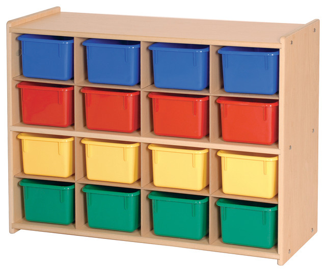 Superior Steffywood Kids Playroom Toy Bin Organizer 16 Tray Cubby Storage Unit  Contemporary Toy Organizers