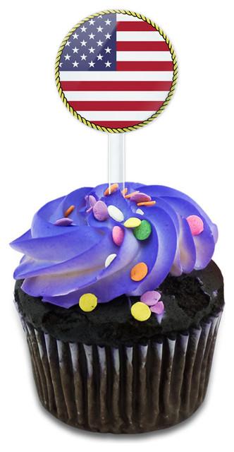 Flag Of Usa Cupcake Toppers Picks Set.