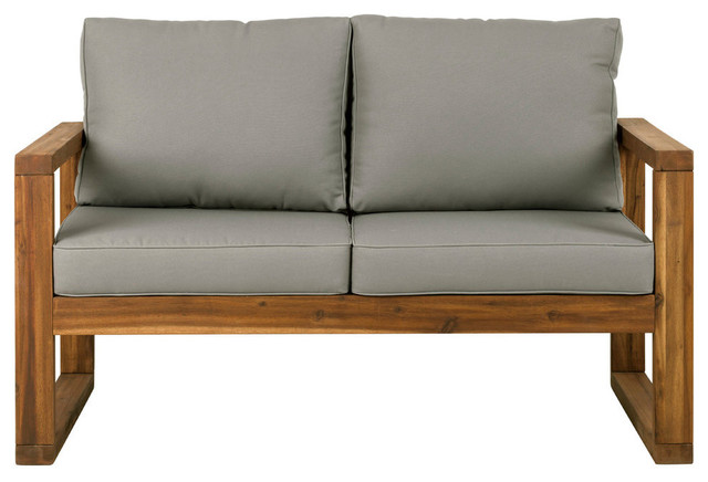 Astonishing Open Side Love Seat With Gray Cushions Brown Alphanode Cool Chair Designs And Ideas Alphanodeonline