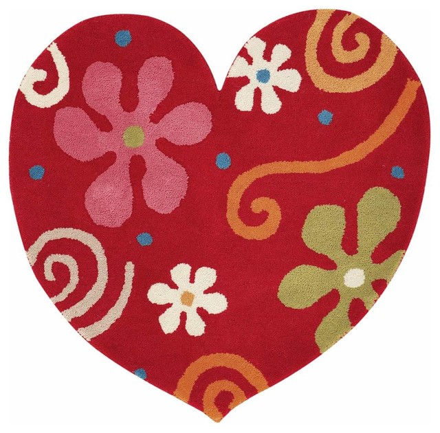 Heart 1708 300 Red Childrens Rug Contemporary Kids Rugs By Super Area