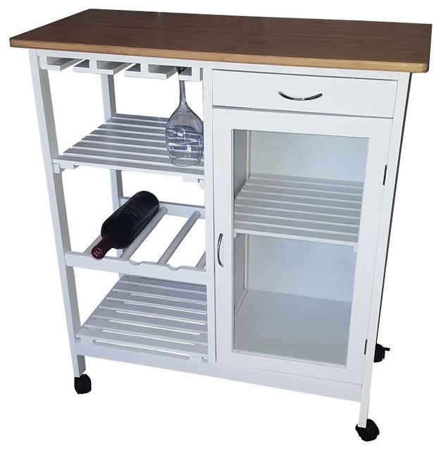 White Kitchen Trolley white bamboo kitchen trolley - asian - kitchen islands and kitchen