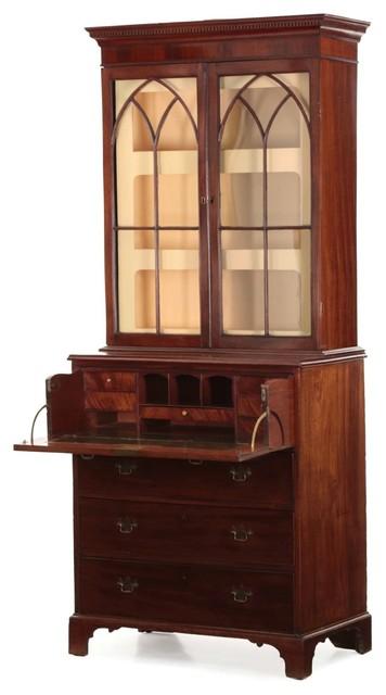 56175648701f5 Consigned English George III Mahogany Secretary Desk With Bookcase ...