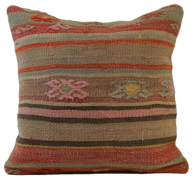 Handmade Vintage Throw Pillows : Handmade Vintage Turkish Kilim Pillow Cover, 16