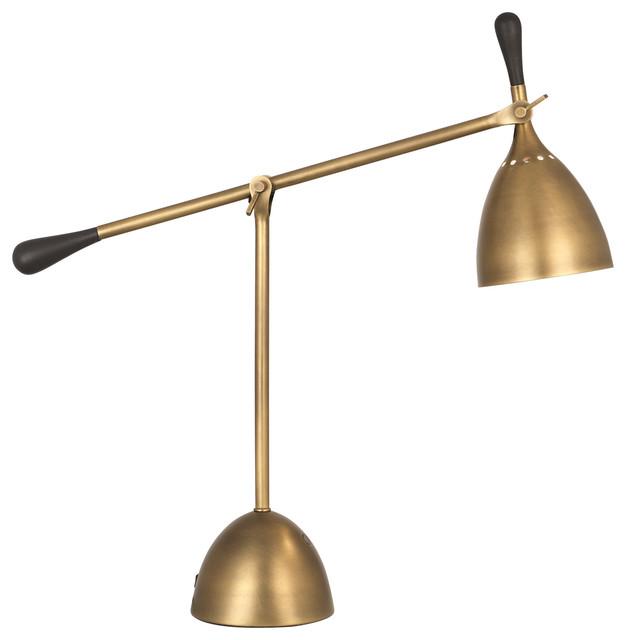 Robert Abbey Ledger Adjustable Table, Robert Abbey Kinetic Antique Brass Pharmacy Desk Lamp