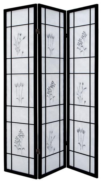 Aleko 3Prd04 Room Divider Black Wood Frame With Rice Paper 3-Panel ...