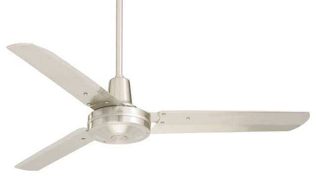 "48"" Heat Fan Ceiling Fan, Brushed Steel."