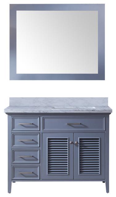 "Ariel Kensington 43"" Right Offset Single Sink Vanity Set, Gray"