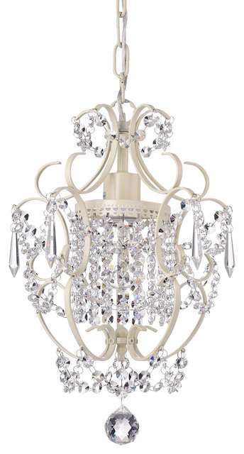 Amorette Mini Chandelier Wrought Iron Ceiling Light Fixture Ivory White
