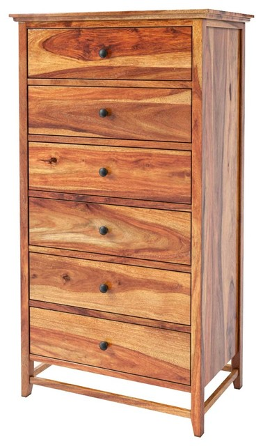 Mission Modern Solid Wood 6-Drawer Bedroom Tall Dresser.