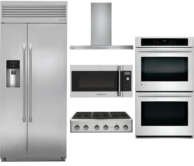 "5-Piece Stainless Steel Kitchen Package with ZISP420DKSS 42"" Side by Side Refrig"