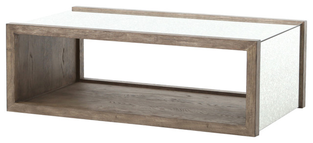 balham oak and mirror gray coffee table - rustic - coffee tables