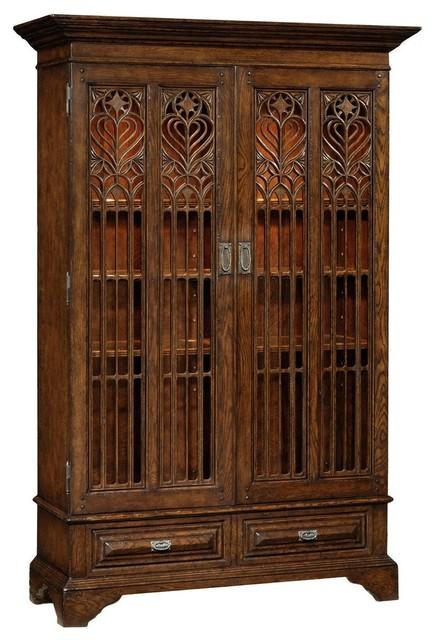 Jonathan Charles Tudor Oak Dark Brown China Cabinet Traditional Cabinets
