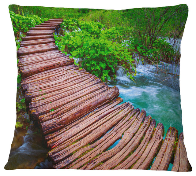 """Wooden Bridge in National Park Landscape Photography Throw Pillow, 16""""x16"""""""