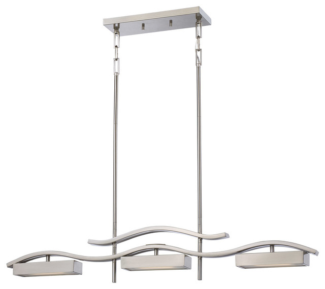 """3 Light Led Ceiling Pendant Brushed Nickel Contemporary: Nuvo Lighting 62/135 3 Light 38"""" Wide Integrated LED"""
