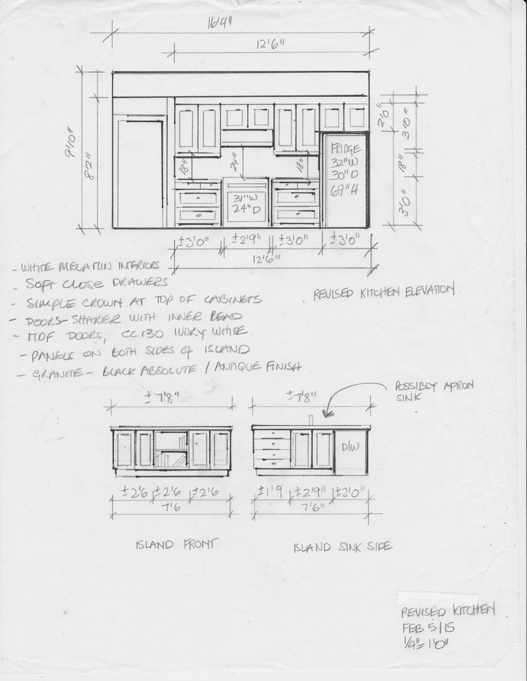 residential space plans- farmhouse kitchen elevations