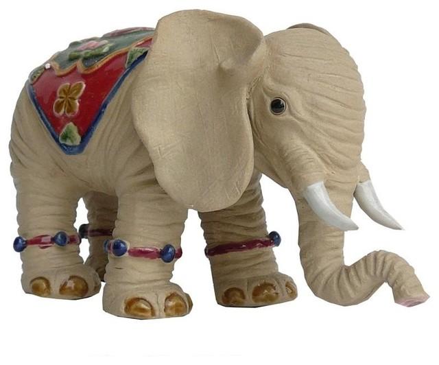 Oriental Ceramic Elephant Decor Figure Asian