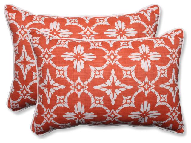 Aspidoras Coral Oversized Rectangular Throw Pillow, Set Of 2, 24.5x16.5x5  Tropical