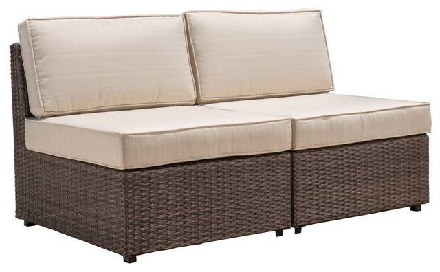 GDF Studio Reddington Outdoor Wicker Armless Sectional Sofa Seat, Set Of 2
