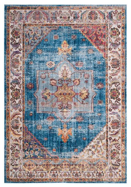 Safavieh Bristol Woven Rug, Blue/ivory, 3&x27;x5&x27;.