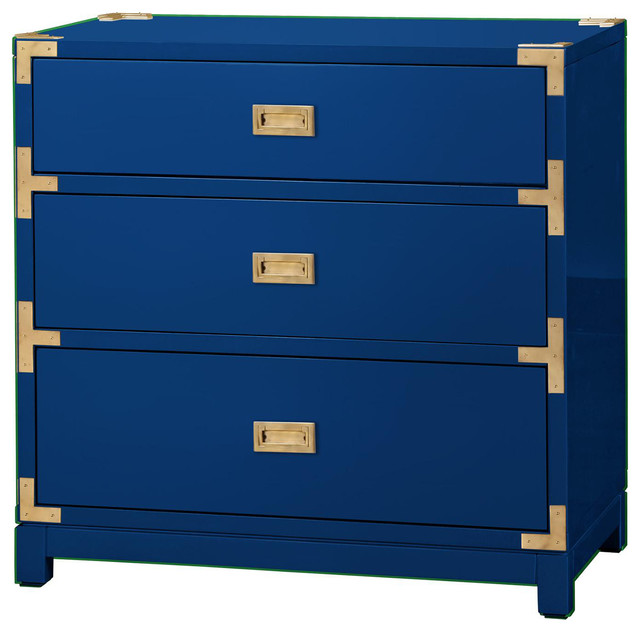 Rex Hollywood Regency Blue Gold Campaign 3 Drawer Nightstand