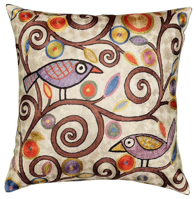 Kashmir Designs - Klimt Tree Of Life Birds Cream Throw Pillow Cover Hand Embroidered 18? X 18 ...