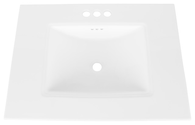 """Ronbow Essentials Saloon 25"""" Sink With 4"""" Widespread Faucet Hole, White."""