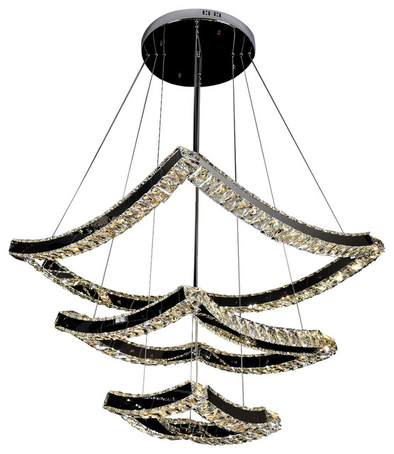 Modern 3 Tier Gl Crystal Chandelier Contemporary Ceiling Lighting