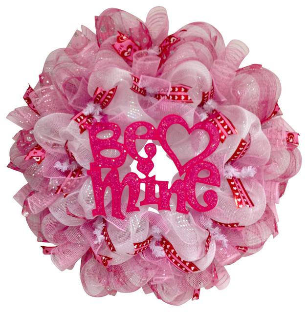 Valentines Day Be Mine Glittering Pink Handmade Deco Mesh Wreath.