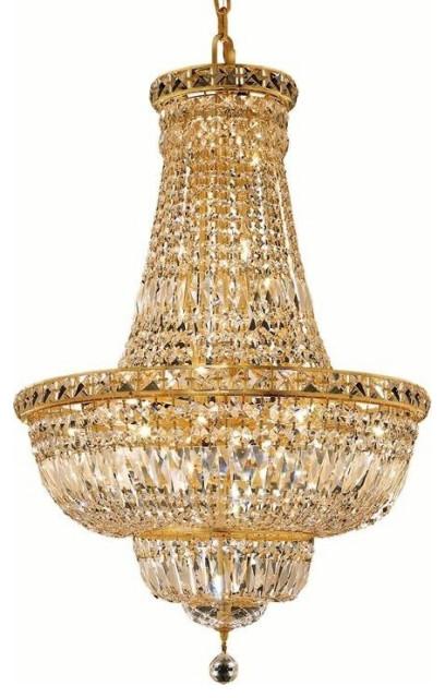 Elegant Tranquil 22-Light Gold Chandelier Clear Elegant Cut Crystal