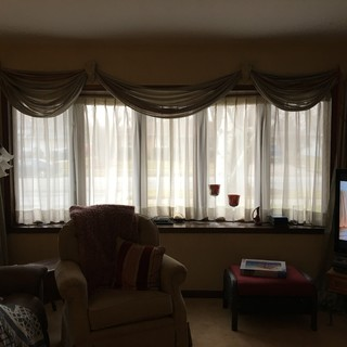 5 panel bow window treatment