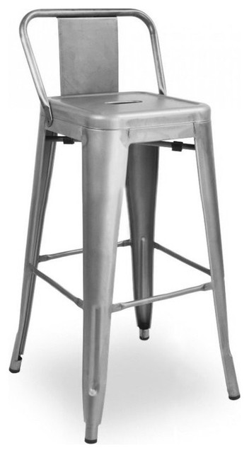 Dreux Low Back Steel Counter Stool, Set Of 4, Gunmetal Industrial Bar