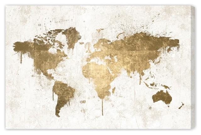 """""""mapamundi White Gold"""" Canvas Art, 45""""x30""""."""